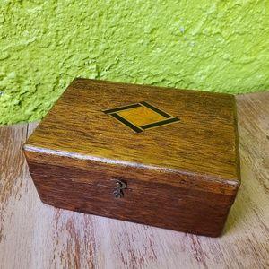 Vintage | Wood Inlayed Trinket Storage Box